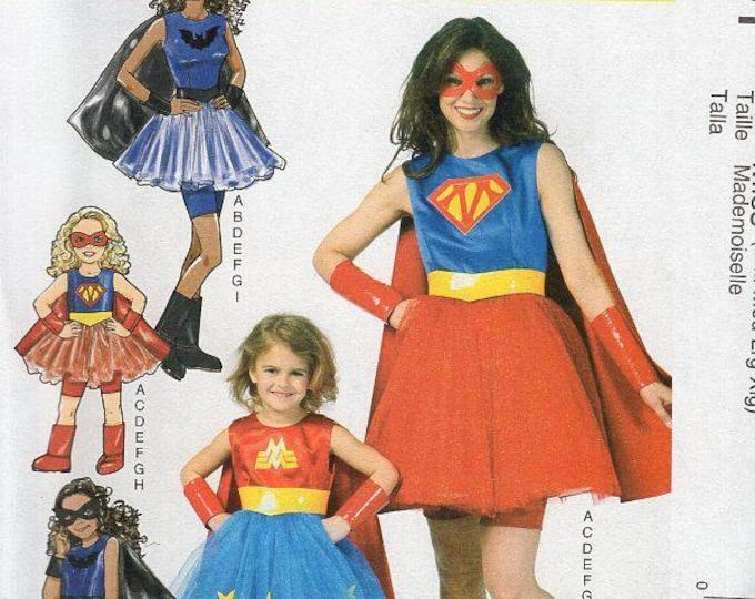 Free Usa Shipping McCall's 7001 371 Costume Miss Adult Superwoman Wonderwoman Batwoman Uncut Size 8 10 12  14 16 18 20 22 New Sewing Pattern