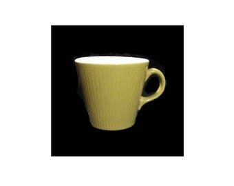 """Mid-Century Modern Atomic Coffee Cup, Mustard Yellow in Pristine Condition, Embossed Vertical Stripes, White Glazed Interior, 3"""" Tall"""