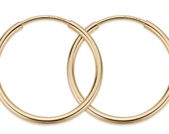 1 Pair, 2 Pcs 12 mm 14K Gold Filled Hoop Earrings  (GF4003800)