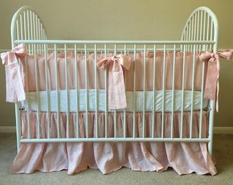 Linen Crib Bedding Neutral Baby Bedding Set Ruffled Cream