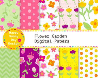40% off Flower Garden / Flower Digital Papers - Instant Download - D002