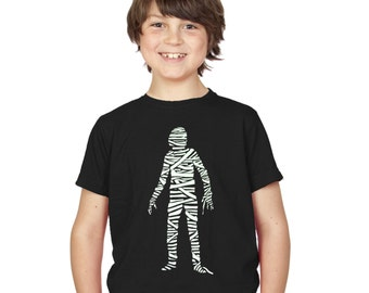 Kids Mummy Monster Glow In The Dark T-Shirt Black Boys / Girls Childrens