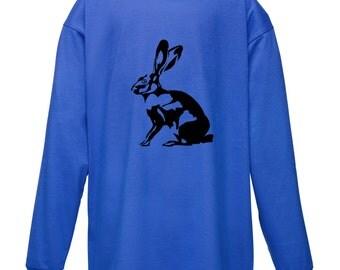 Kids Rabbit T-Shirt Long Sleeved / Childrens Blue TShirt / Boys Girls Animal Hare Tee Red, Navy, Black, White Age 3-4, 5-6, 7-8, 9-11, 12-13