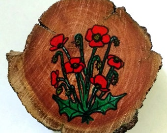 Wooden Red Poppy Brooch
