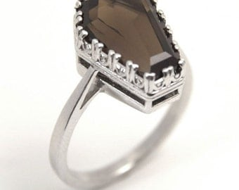 Coffin Ring 5ct Solitaire Smokey Quartz Set In Sterling Silver