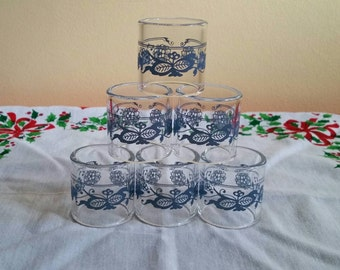 Pyrex Old Town Blue Onion Napkin Rings - Set of 6