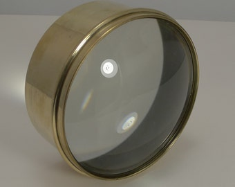 Large Antique Brass Desk Magnifying Glass / Paperweight c.1910