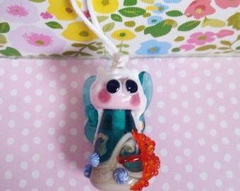 Ocean Fairy Bead - Sea Themed Fairy Bead - Handmade Glass Fairy - Artisan Fairy Pendant - UK Handmade -Beach Inspired - Starfish Fairy Charm