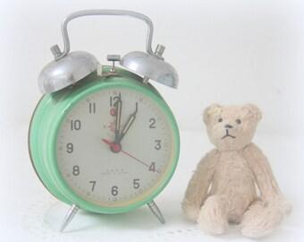 Vintage Mechanical Green Metal Alarm Clock, Helmbrand, Working