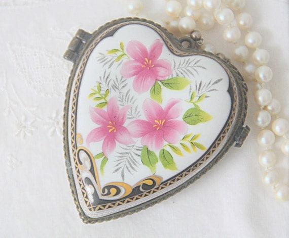 Vintage Large Heart Shaped Porcelain Locket, Pink Flower Decor, Large Pendant