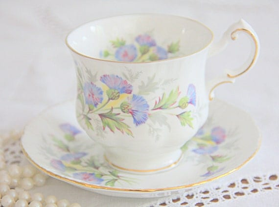 Vintage Paragon 'English Flowers' Thistles Bone China Cup and Saucer, England