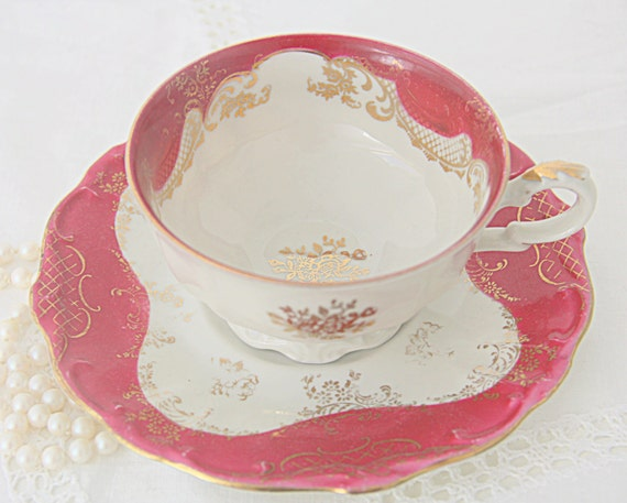 RESERVED FOR TAYLOR Beautiful Vintage Porcelain Teacup and Saucer, Cherry Red and Gold Decor, Bavaria, Germany