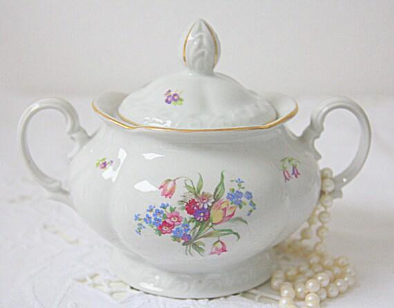 Vintage MZ Czechoslovakia Porcelain Sugar Bowl with Lid, Flower Decor