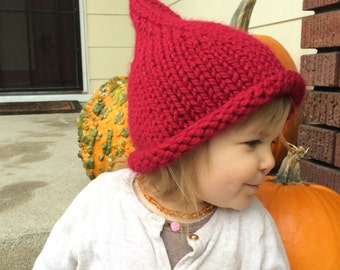 Elf Hat, Child's Elf Hat, Christmas Hat, Pixie Hat, Knit Red Hat, Baby Elf Hat, Gnome Hat, Color Choices, Many sizes