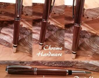 Custom Pen Handmade Pen Exotic Wood in Chrome