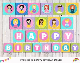 Princess Banner Printable, Princess Bunting, Party Supplies, Princess Party Instant Download DIY