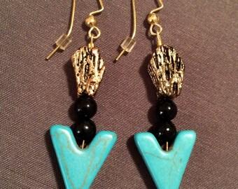 Turquoise Arrow and Golden Metallic Earrings