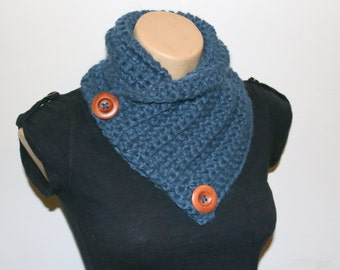 NECK WARMER Multi-wear, crochet cowl, scarf, collar, knitted chunky yarn, Grey, Blue, Wooden Buttons, GnarlyKnits