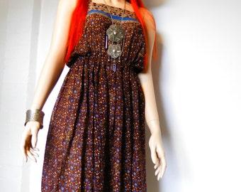 1970's Fine Indian Cotton Summer Dress - Size 8