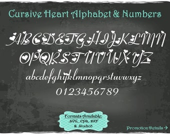 Cursive Heart Alphabet and Numbers in .SVG .EPS .DXF & .Studio3 formats Craft Cut Die Cutters Digital Vector Files Instant Download