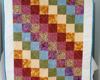 Handmade baby quilt--Stepping Squares pattern