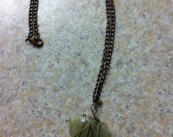 Unique light green sea glass necklace