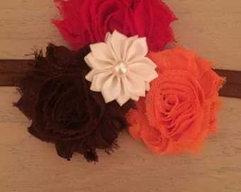 Red, orange and brown fall headband