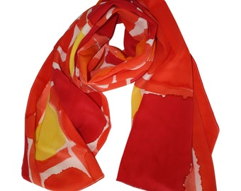 Modern Abstract Hand Painted Silk Scarf / Women's Scarf / Silk Scarf / Spring Scarf / Orange Scarf / Orange Silk Scarf / Hand Painted Scarf
