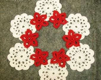 6 x Crochet Mini Doilies and 6 x mini flowers, Handmade Crochet Embellishment, Small Crochet Doilies flowers, White/red  Appliques set of 12