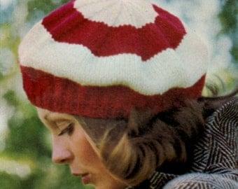 PATTERN, knit beret pattern, vintage beret pattern, knitted hat pattern ,  hat pattern, knitting pattern