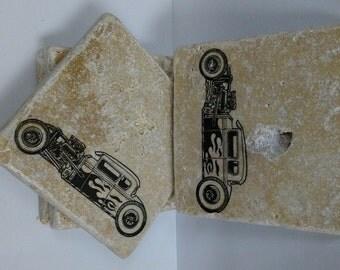 4 x 4 Travertine Stone Coasters/Art Decor (Set of 4) - Vintage Hot Rod