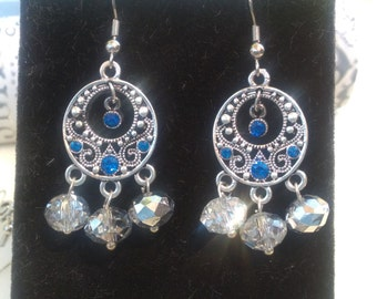 Silver Filigree with Blue crystals and Silver A/B spheres