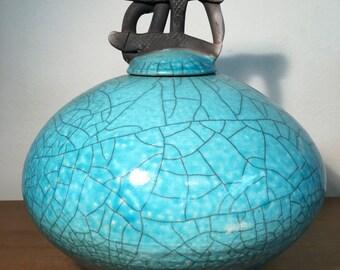 Grenade Sky Blue Ceramic Vessel
