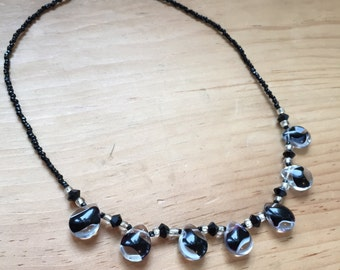 Black and White Glass Bead Necklace