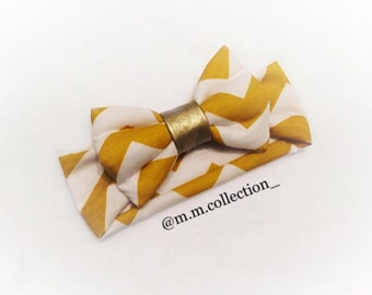 Mustard Chevron with Gold Knot