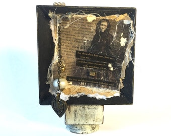 Small Browning Love Sonnet Assemblage - Love Poetry Gift Assemblage