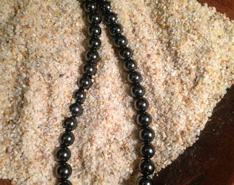 "18"" Hematite Necklace with a button clasp"
