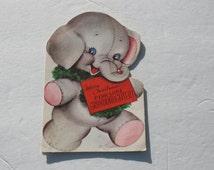 Vintage Marjorie Cooper Christmas Card for Granddaughter, Die Cut Elephant 1950s 50s USED Cute Christmas Card