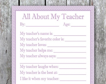 All About My Teacher Printable, DIY Teacher Gift, Printable Gift for Teacher, Teacher Appreciation Fill in the Blank, Kid End of Year Gift