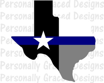 SVG, DXF, EPS Cut file Texas State Flag Thin Blue Line svg, Texas Svg, Police svg, silhouette cut file, cameo file, Back the Blue cut file
