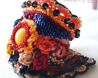 Colorful cuff, Crochet cuff, Cuff bracelet, Beaded bracelet, Cabochon cuff, Roses bracelet, Bead embroidered cuff, Wrist cuff, ethnic cuff