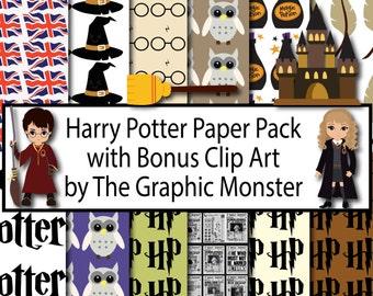 Harry Potter Digital Paper, Potter Paper, Scrapbook Paper, Harry Potter Scrapbook Paper, Instant Download, Digital, Hogwarts, Hagrid, Harry