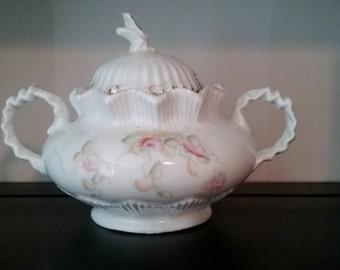 Antique Sugar Bowl, Sugar Bowl, Floral Sugar Bowl, Prussia