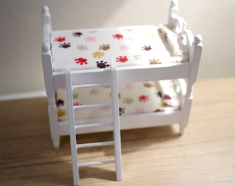 Dollhouse double deck bed mattress doll house childen beds 1 12th scale miniature