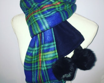Royal Plaid Pompom Scarf