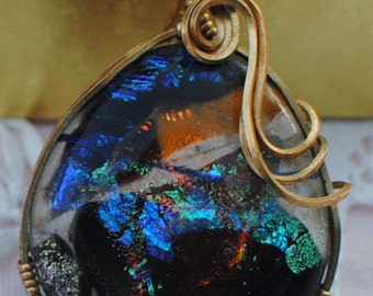 Handmade Handcrafted 14k 20 ga gold filled wire wrapped dichroic glass pendant