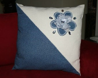 Denim and Pearls Pillow Cover with Large Organza Flower and Rhinestones//