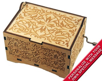"Jewelry Music Box, ""Lara's Theme"" from Dr. Zhivago, Laser Engraved Wood Hand Crank Music Box"