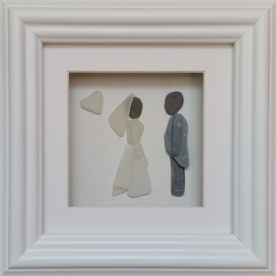 Wedding Gifts From Groom To Bride Day Of Wedding: Wedding Day Gift Bride & Groom Sea Glass Art By