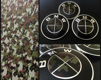 Digital Camo Military Camouflage Overlay Decal Sticker BMW Badge Emblems Rims Alloy Wheel Hood Trunk Roundel Cover 1 2 3 4 5 6 Series M E F
